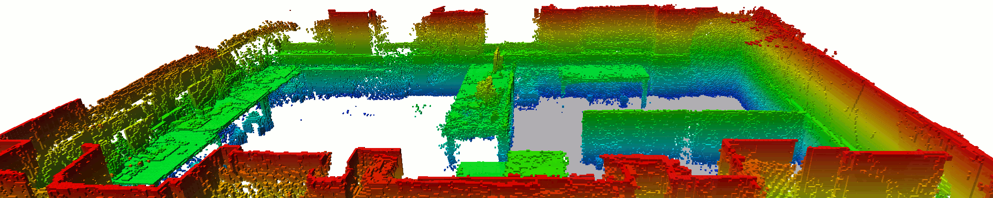 3D Map of the RoboLab (two-room robot area marked gray)
